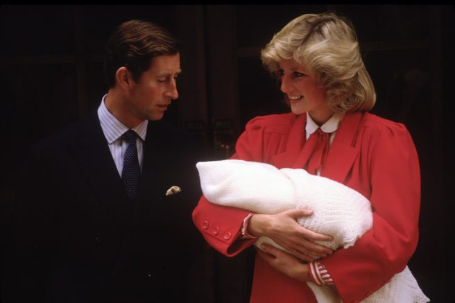 LONDON - SEPTEMBER 16: Diana Princess of Wales and Prince Charles with new born Prince Harry, leave St.Mary's Hospital on September 16, 1984 in Paddington, London. Diana wore an oufit designed by Jan Van Velden. (Photo by David Levenson/Getty Images)