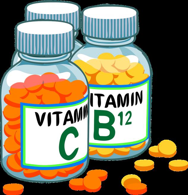 Recipiente cu vitamina C si vitamina B12